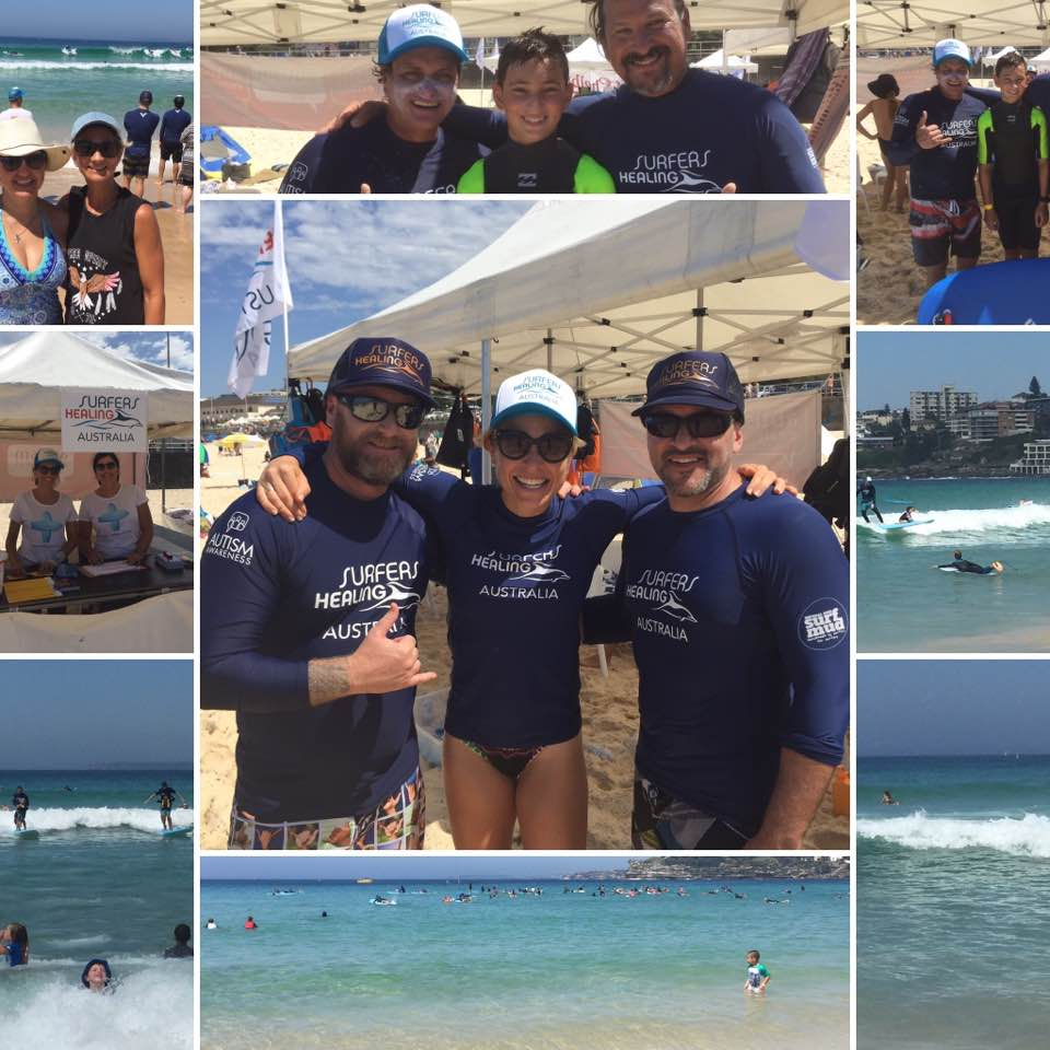 A collage of photos from the Healing Surfers Australia event