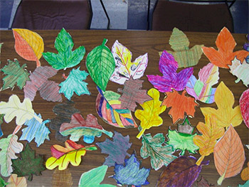 Leaf cut outs that have been coloured
