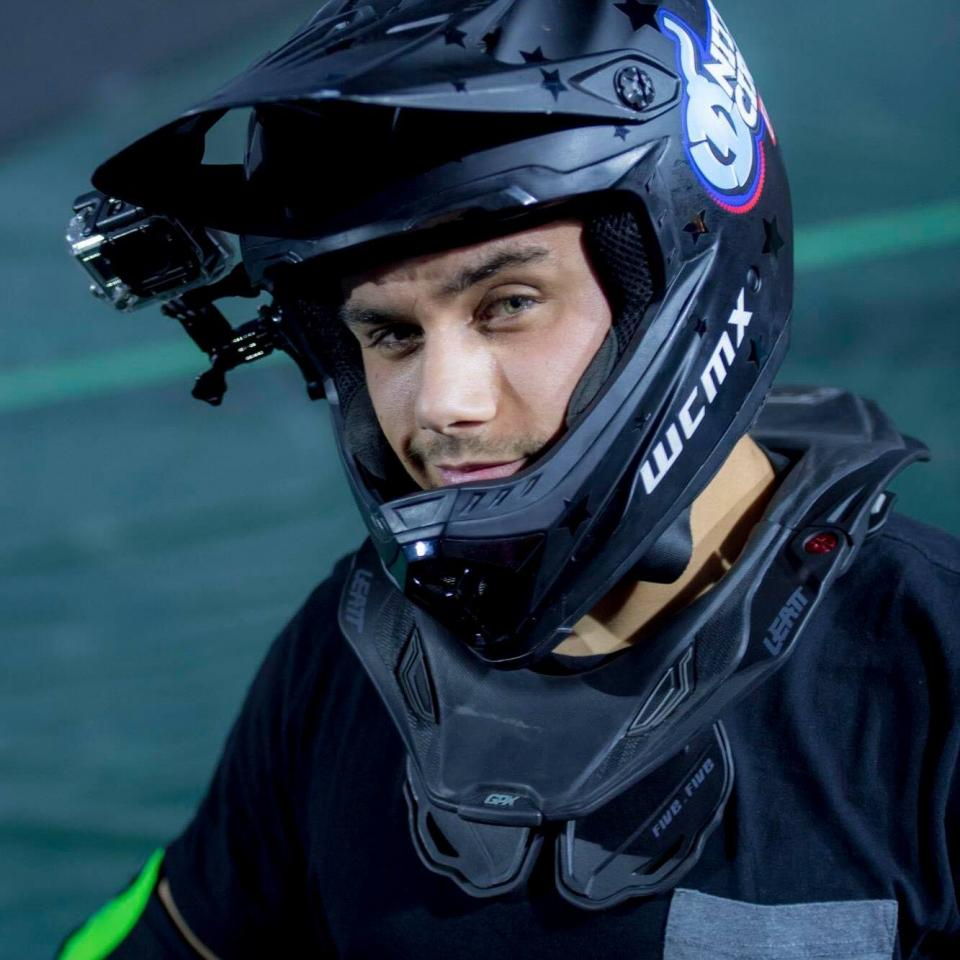 Aaron Fotheringham wearing his helmet. courtesy of his FB page
