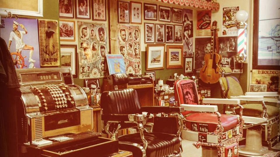 Interior of Franz's barber shop with period pieces