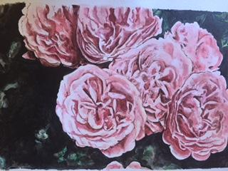 Acrylic painting by Bronwyn Weininger of a bunch of pink peonies