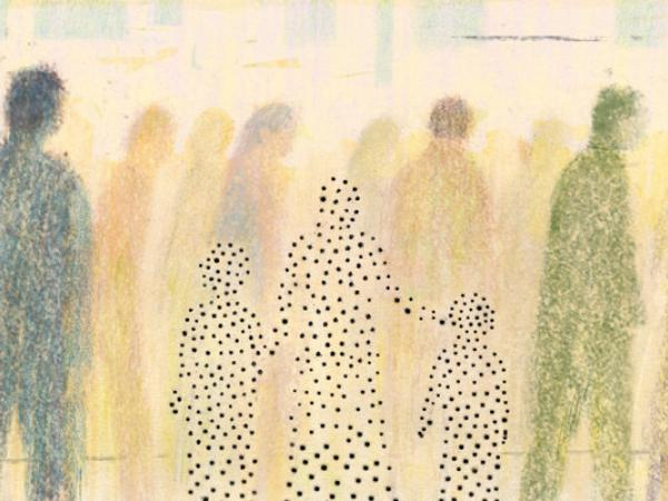 Painting of a crowd of people in silhouette, with three who are holding hands and set off by a distinct pattern and smaller size.