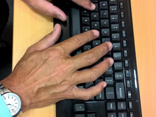 Adam's hands on the keyboard
