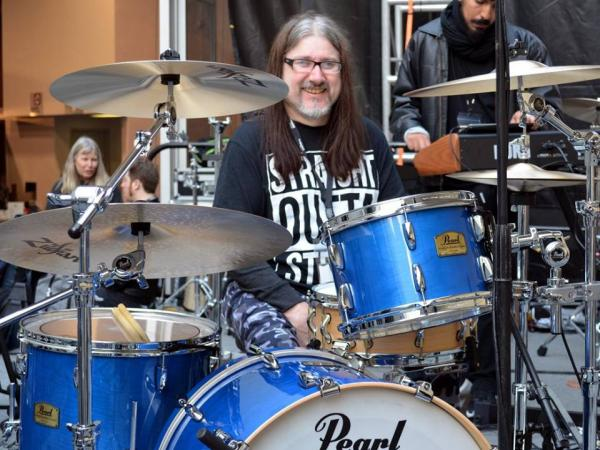 Andrew at his drums for Namm 2017