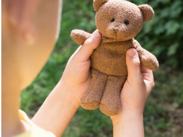 child holding brown teddy bear
