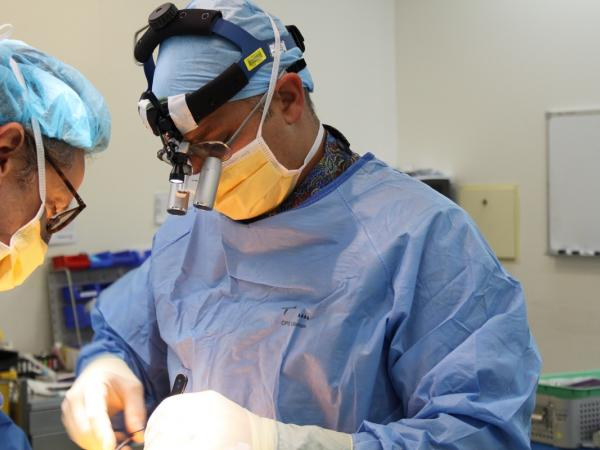 Dr. Marc Coughlan focuses on performing a surgical operation